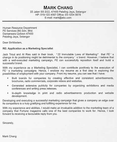 cover letter example the following cover letter example possesses all