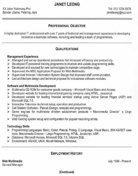 sample and format the resume place updated
