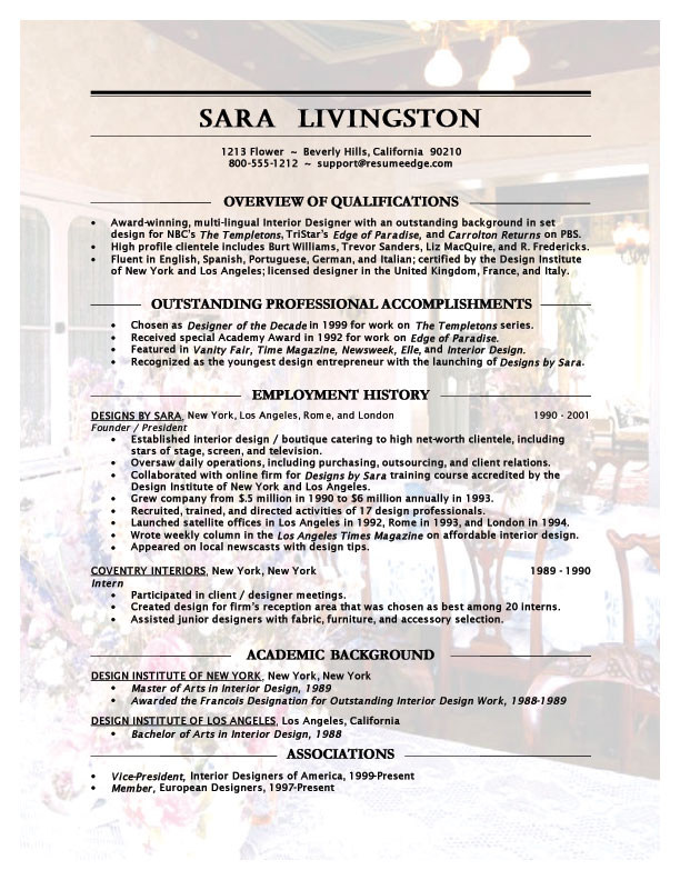 Interior Designer Resume Example  Interior Design Resume Examples